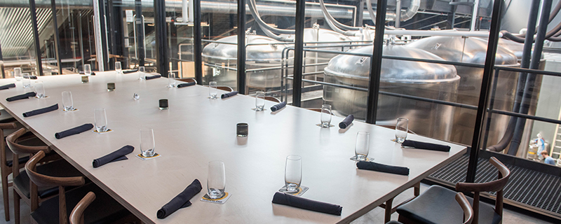 private dining room table overlooking brewery