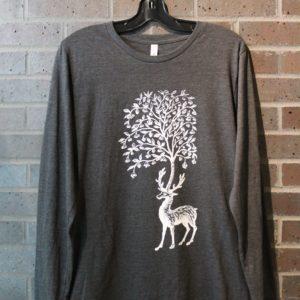 dark grey long sleeve deer and tree tshirt