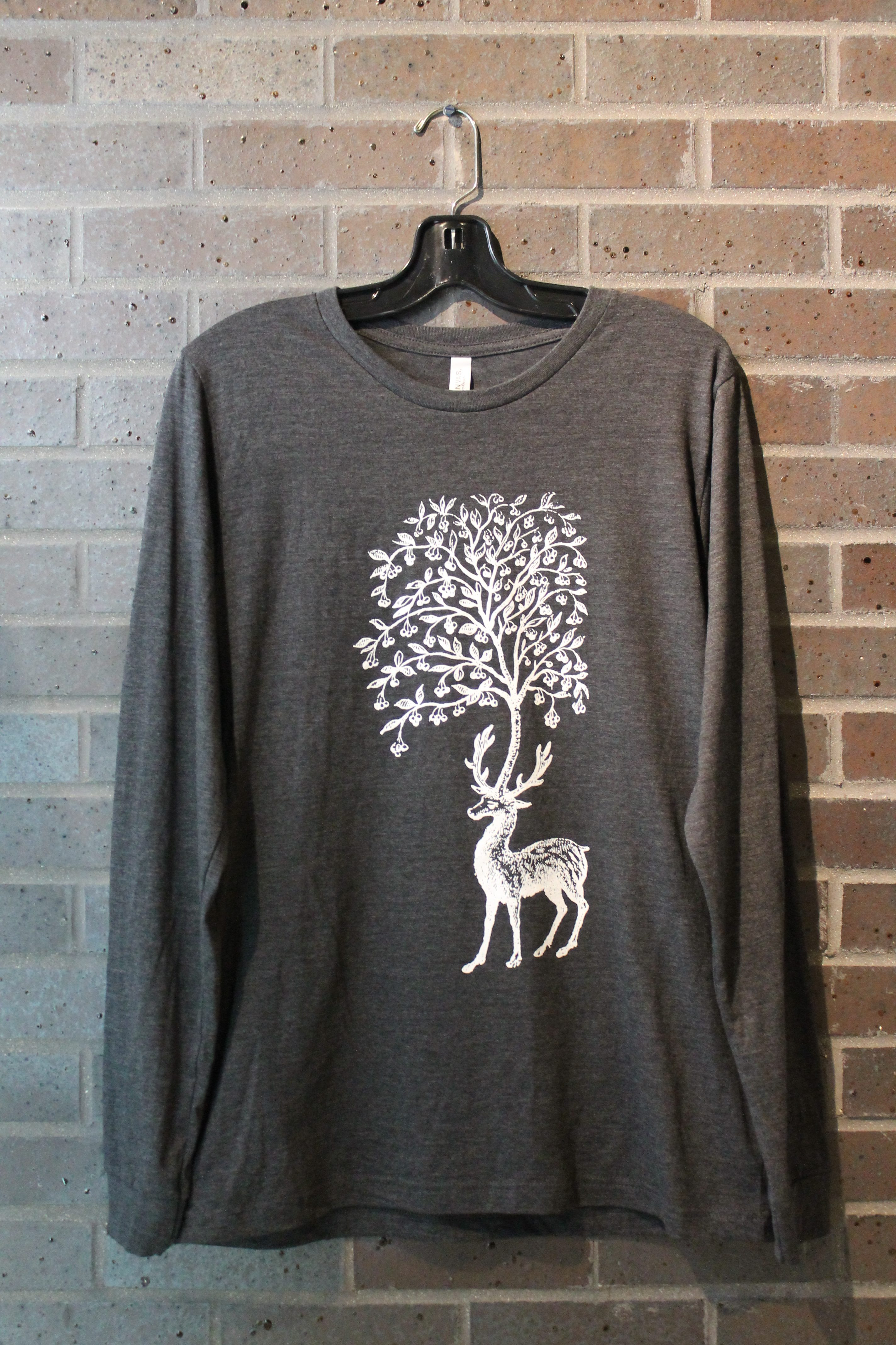 dark grey long sleeve deer and tree tshirt