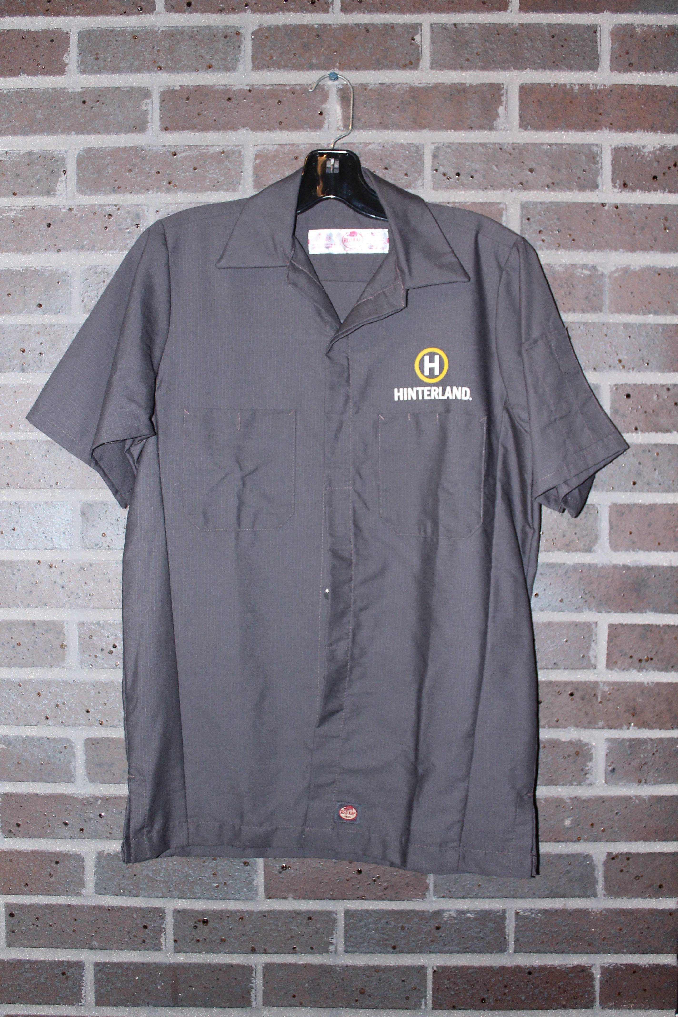 mens charcoal hinterland logo short sleeve button up